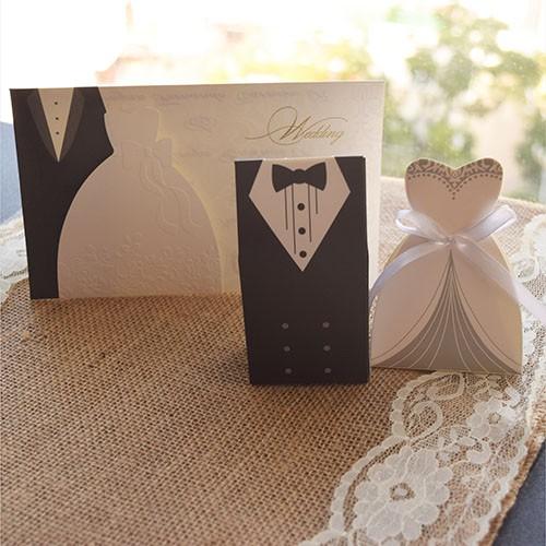 """IB1025S.- Invitación y dulcero de boda """"Bride & Groom"""""""