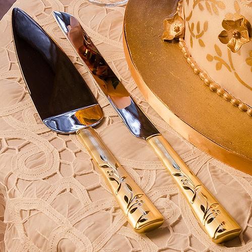 """Set de palas y cuchillo para pastel """"Venecia Gold"""""""