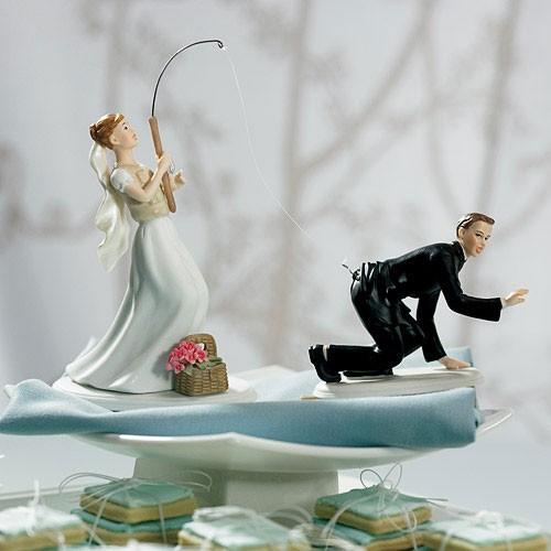 Muñecos de pastel Pescando al amor  .