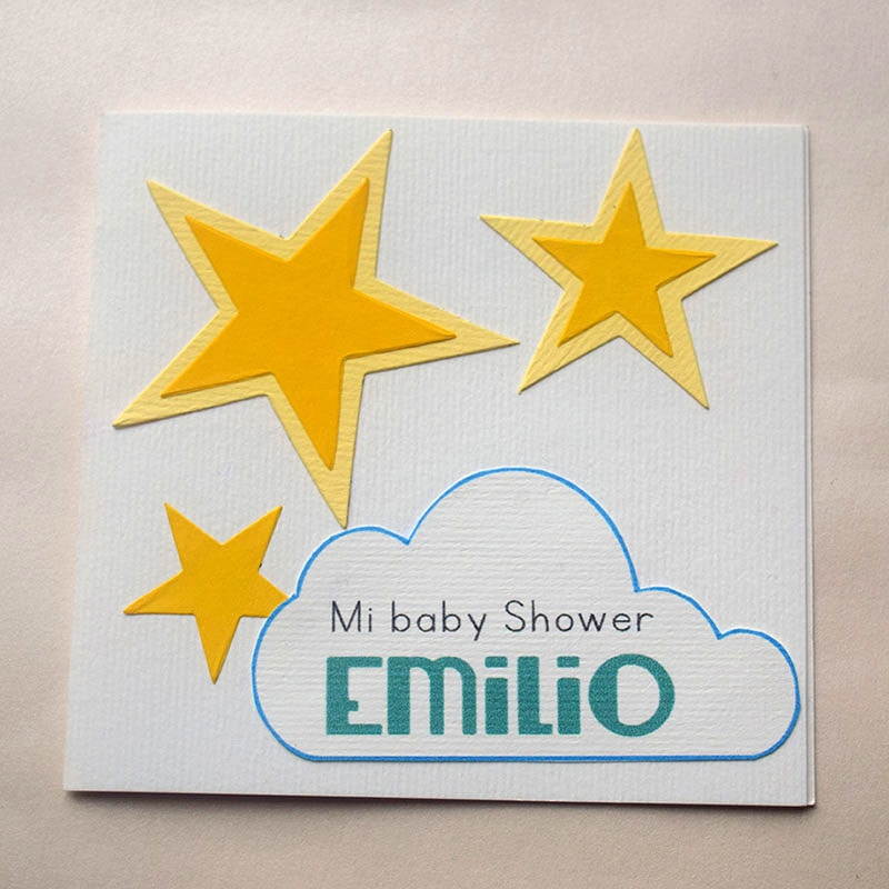 """Invitación para Bautizo o Shower """"Estrellita"""" niño"""