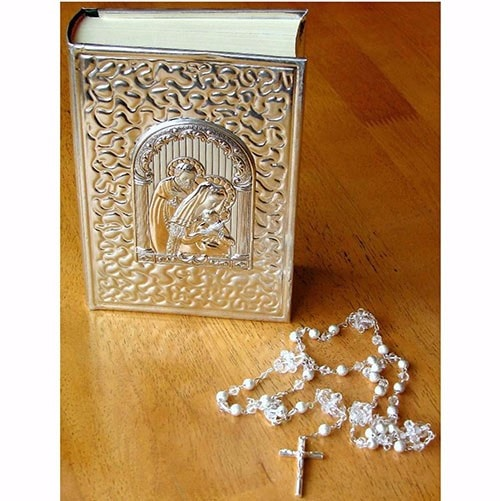 Biblia chica y rosario para Boda La Sagrada Familia Plata .925