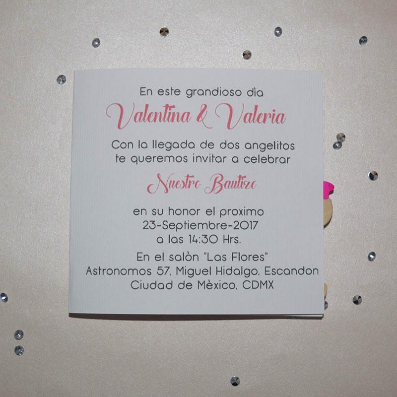 Invitación para Bautizo o Baby Shower Gemelitas niñas.