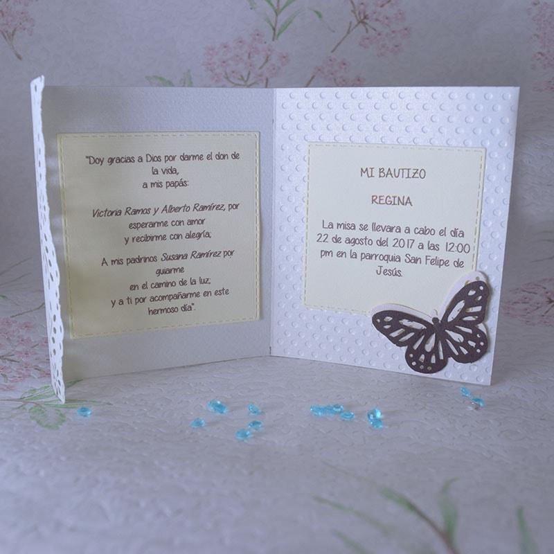 Invitación para Bautizo de niña Mariposas