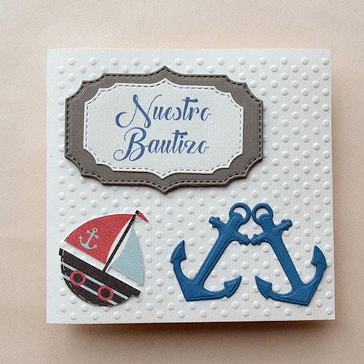 """Invitación para Bautizo para niño o gemelos """"Ancla de mar"""""""