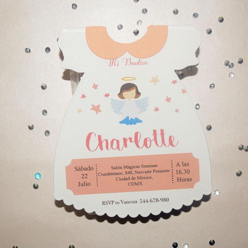 Invitación para Bautizo y Baby Shower Vestidito