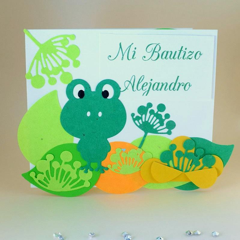 """Invitación para Bautizo y Baby Shower """"Ranita"""""""