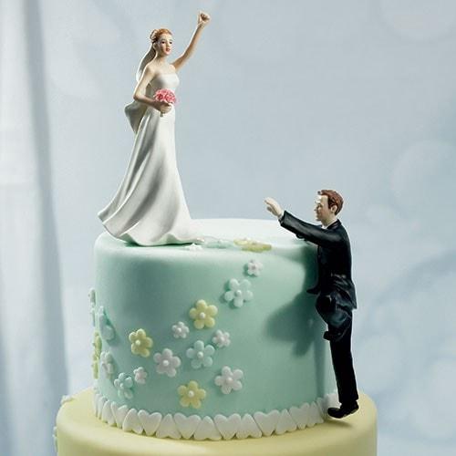 """PORC_042.-Novios para pastel de boda divertidos """"Victorious""""."""