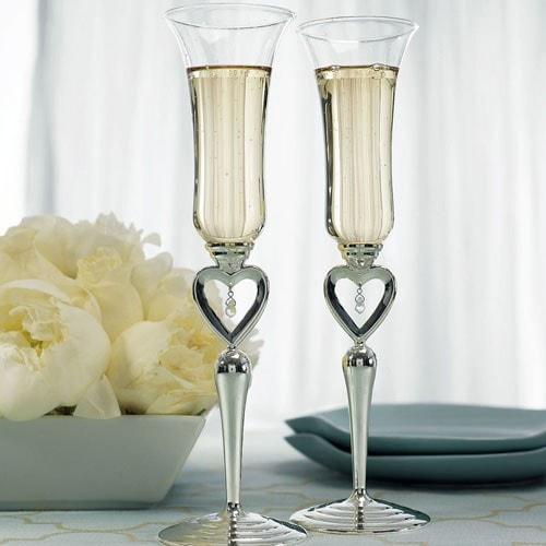 Copas de boda Joyas de corazones