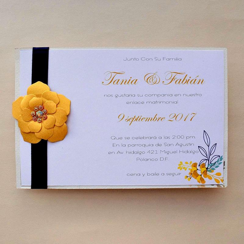 Invitación para Boda Flor Dorada