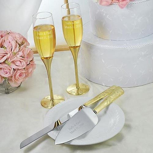 """Copas y set de pastel para bodas de Oro """"Venecia Gold"""""""