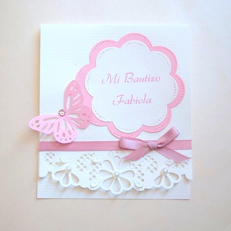 """Invitación para Bautizo de niña """"Jardín floral"""""""