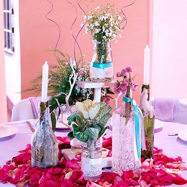 Centro de mesa para Boda Original y Elegante