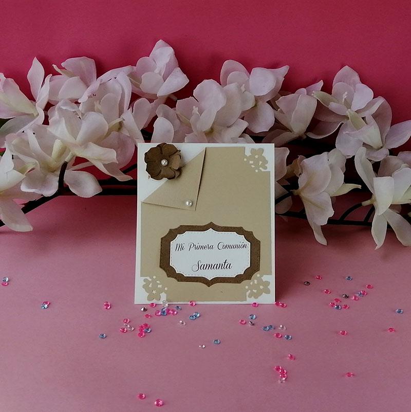 Invitación para Bautizo Brown Flor