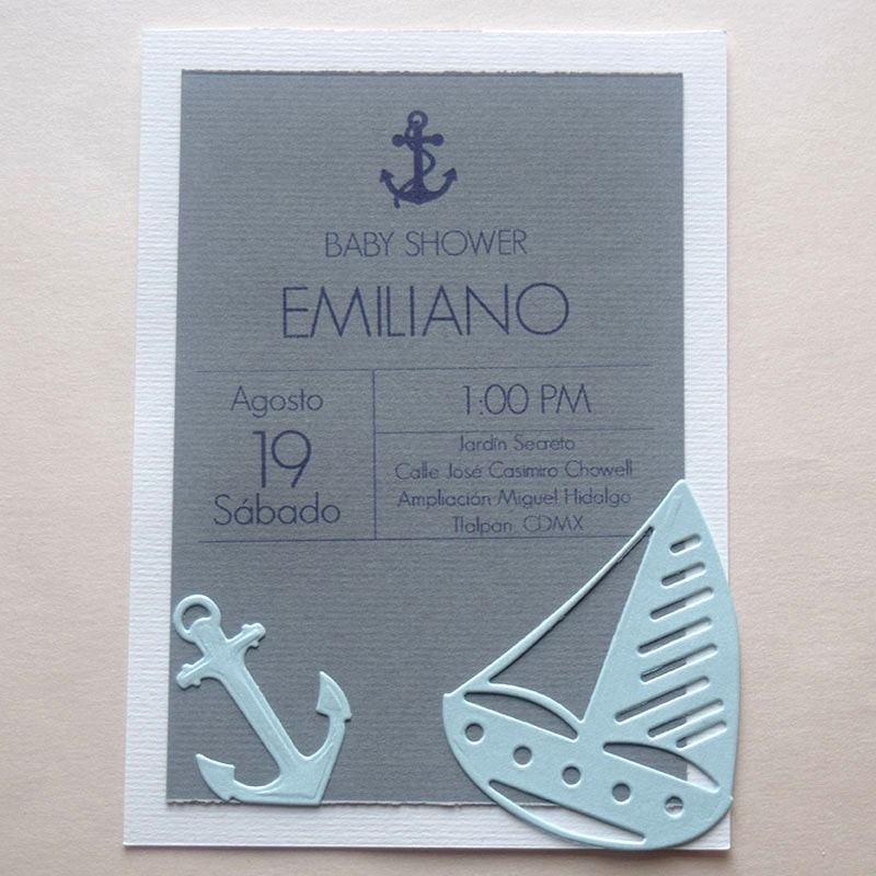 Invitación para bautizo y Baby Shower Marinero 2