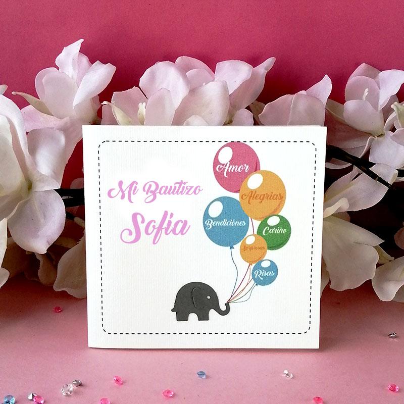 Invitación para Bautizo y Baby Shower Elefantito niña