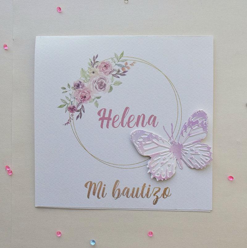 Invitación de mariposa con corona de rosas