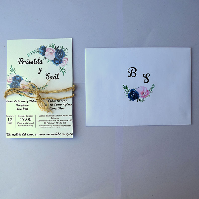 Invitación para boda Rosas Vintage