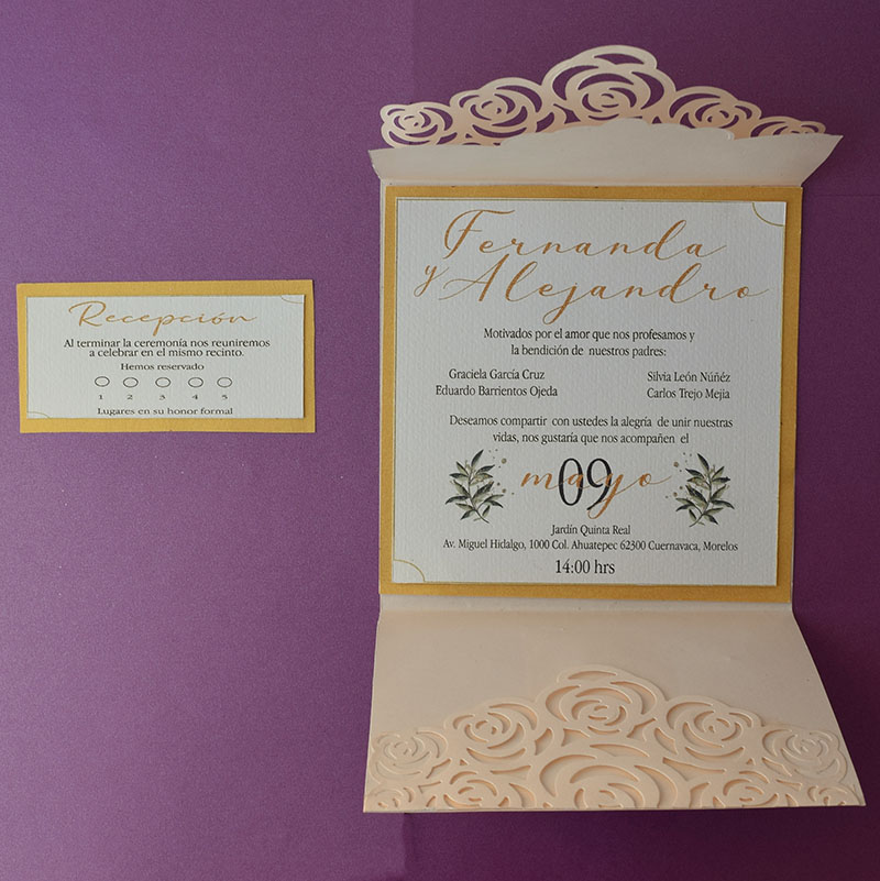 Invitación para boda Golden Light