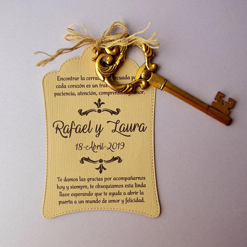 Destapador llave vintage, con agradecimiento