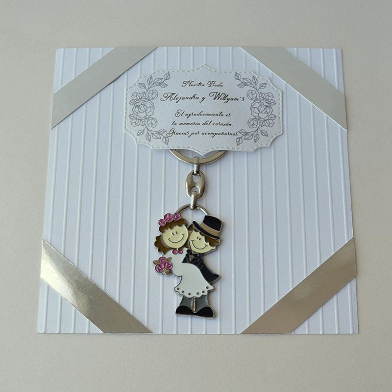Llavero de recién casados con tarjeta de agradecimiento