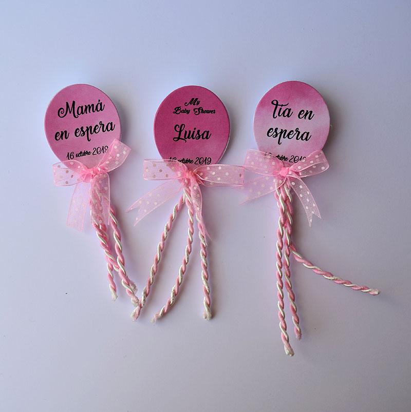 Paquete de 20 identificadores en forma de globos rosas para Baby Shower