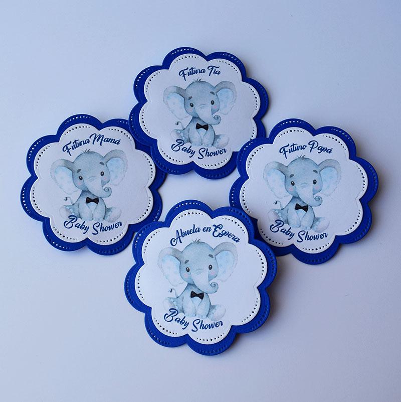 Paquete de 20 identificadores de elefantes en flores para Baby Shower