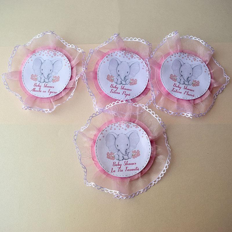 Paquete de 20 identificadores de elefantitos con encaje para Baby Shower de niña