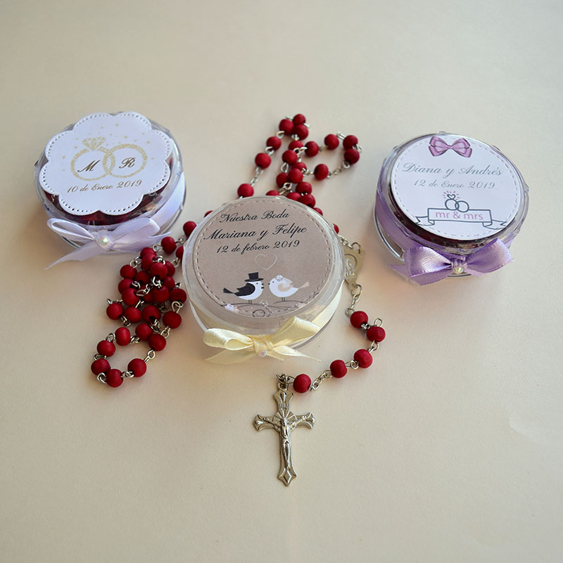 Rosario aromático de palo de rosa para boda