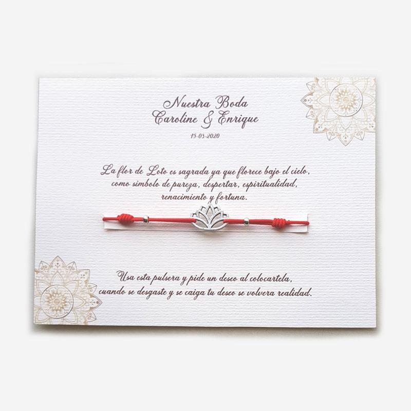 """Pulsera de flor de loto """"pide un deseo"""", obsequio para invitados"""