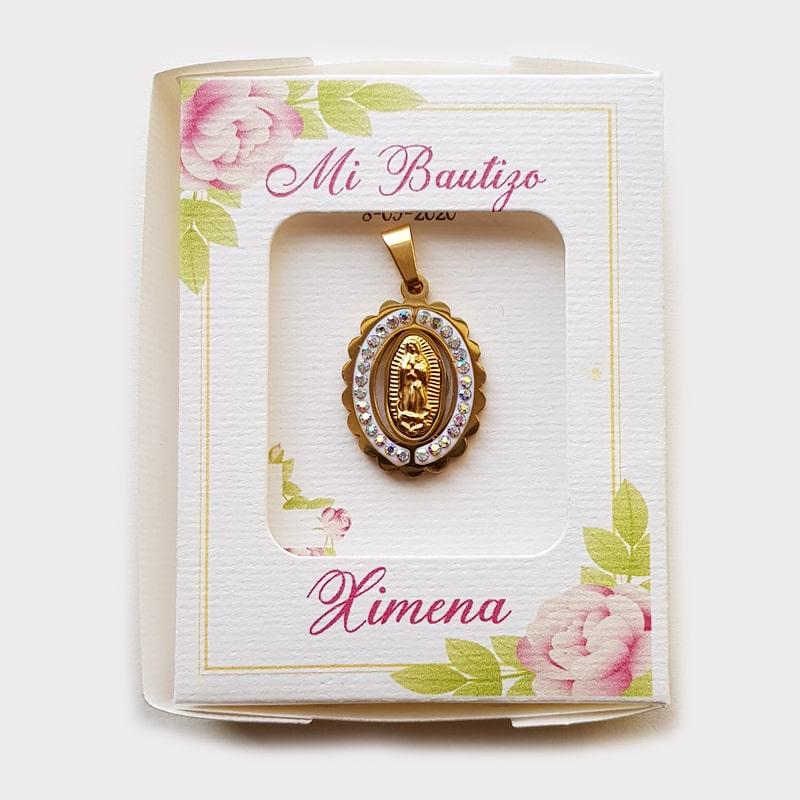 Medalla de Virgen de Guadalupe con cristales