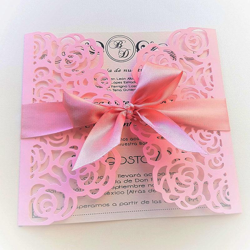 Invitación para xv años rosa floral