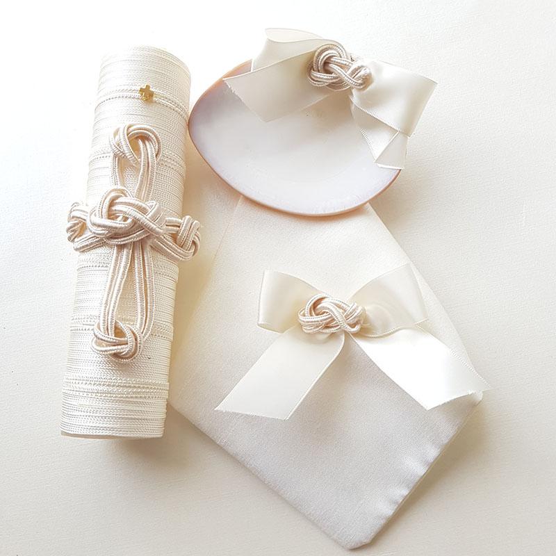 Set de bautizo, nudos, con vela