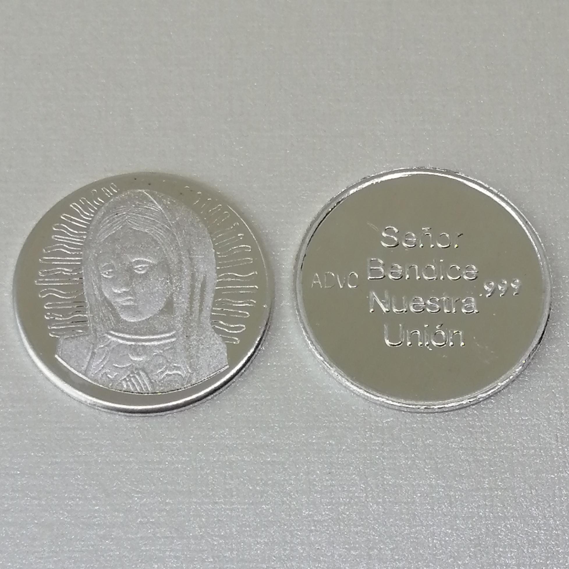 Arras Virgen de Guadalupe Plata pura, 18mm.