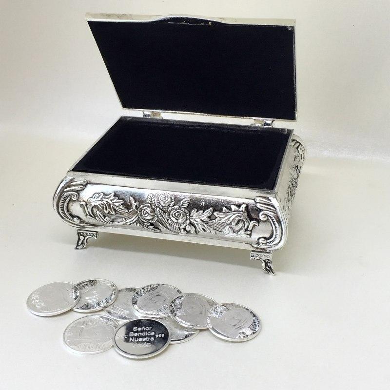 Arras plata .999 de Virgen con Cofre italiano de rosas clásico