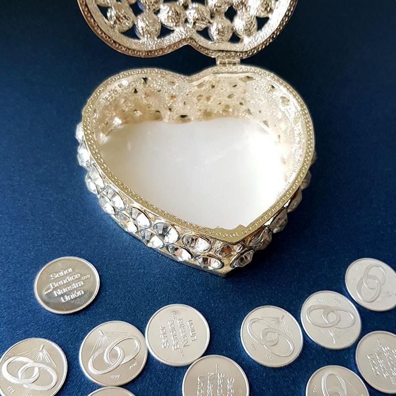 Cofre italiano Corazón con Cristal y arras Alianza plata .999