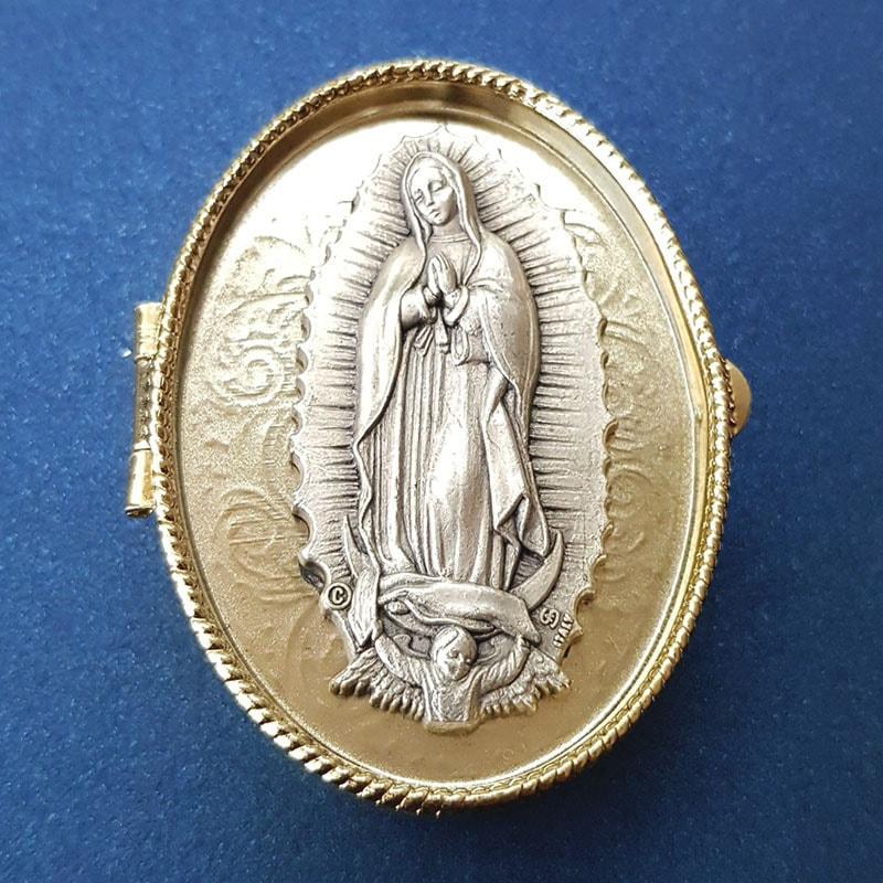 Cofre Italiano Oval con arras Virgencita en plata .999