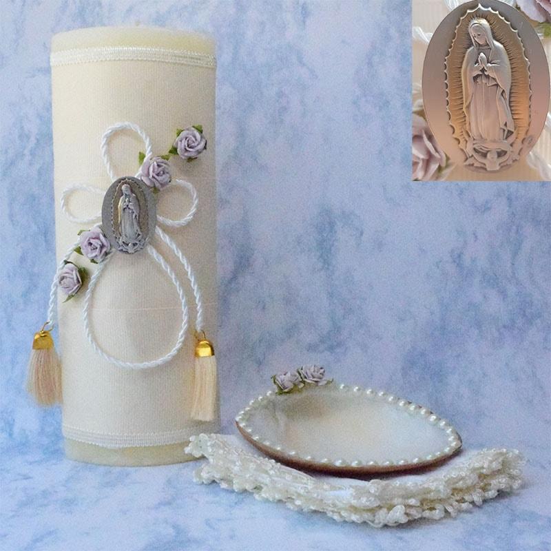 Kit de Bautizo floral con medalla Virgen de Guadalupe