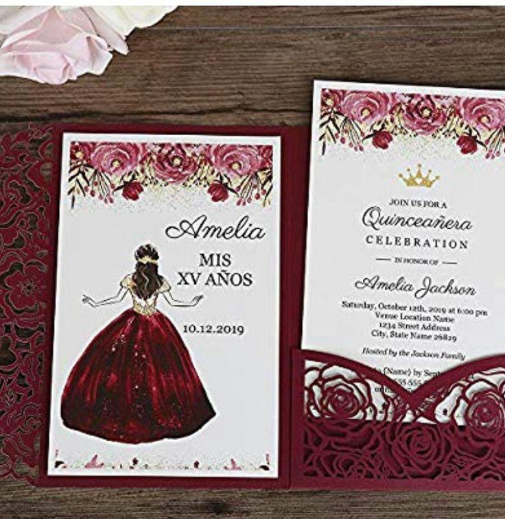 Invitación para XV años Amelia color Vino