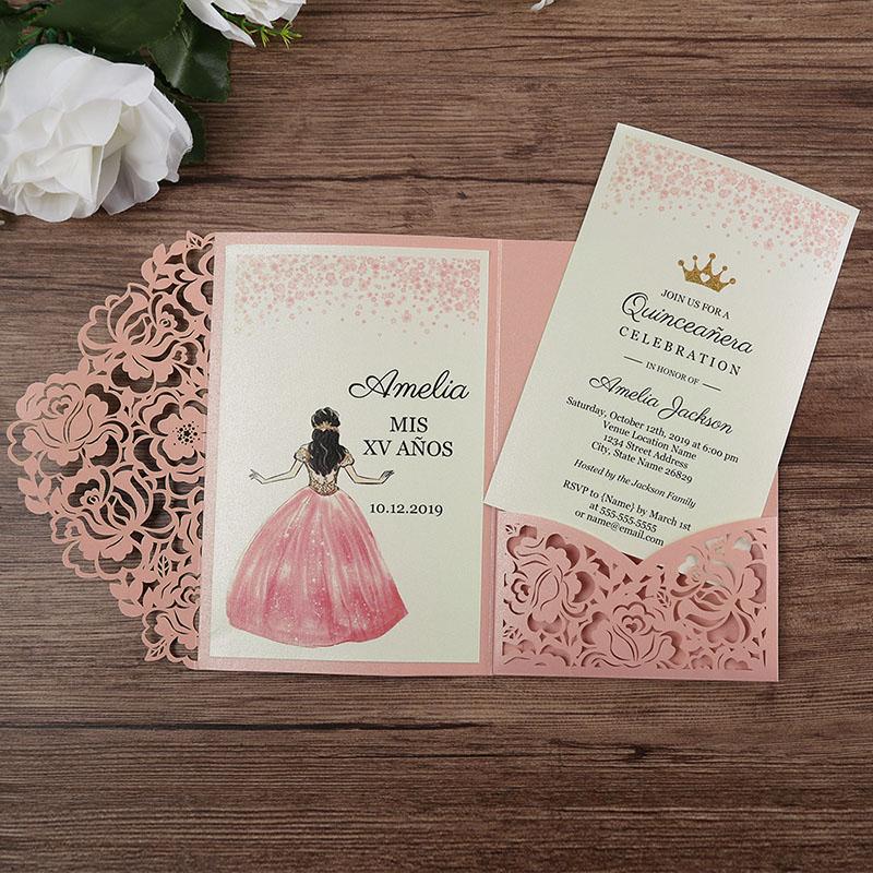 Invitación para XV años Amelia Rosa (pedidos desde 25 piezas)
