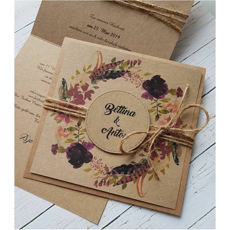 Invitacion para Boda Begonia vintage (pedidos desde 25 piezas)