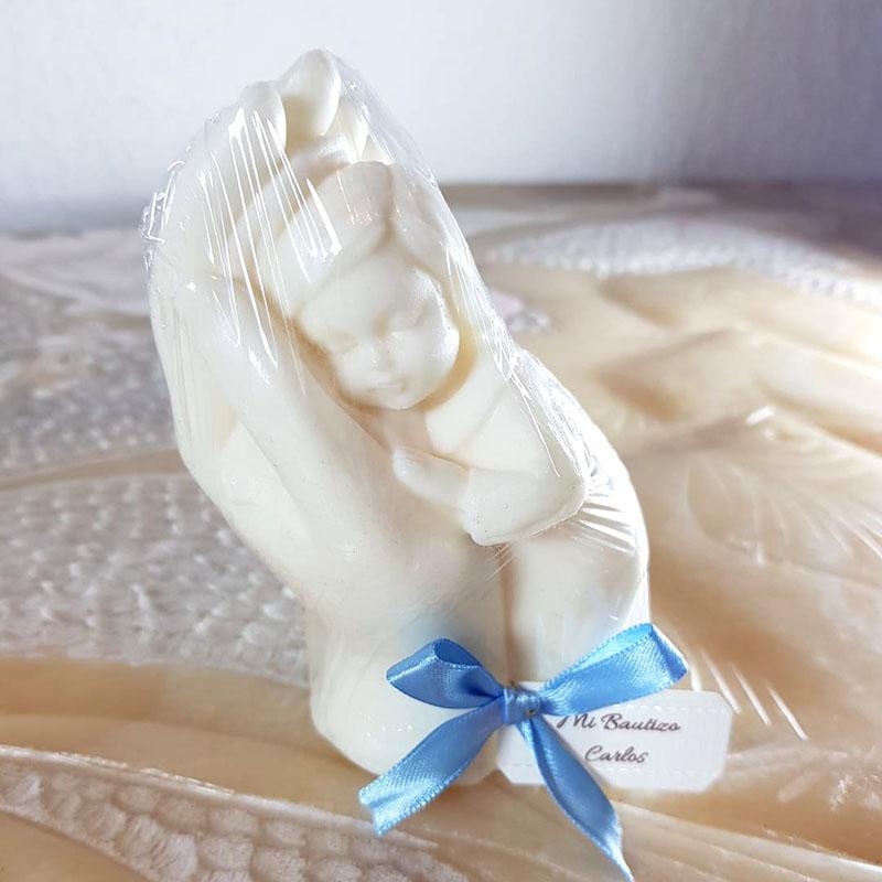 Jabón decorativo, en las manos de Dios, niño o niña aromático, grande 250 gramos