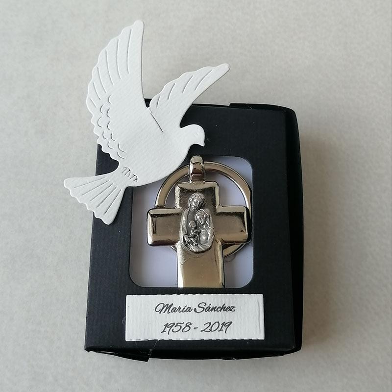 Llavero de cruz para recuerdo luctuoso, Sagrada Familia