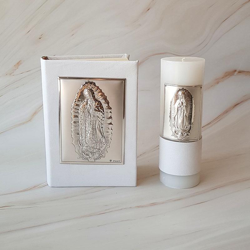 Biblia y Cirio Virgen de Guadalupe, Plata Italiana y piel
