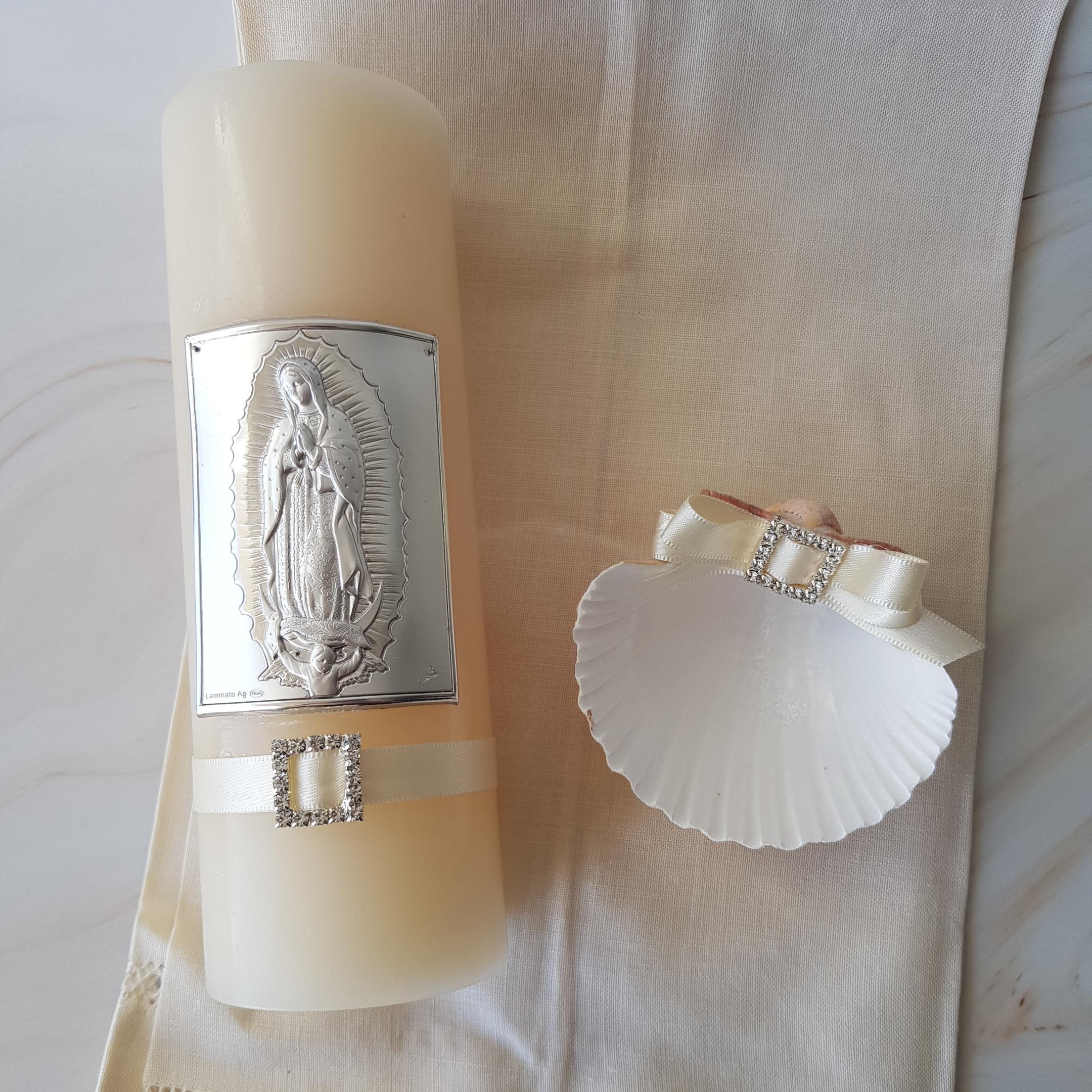 Kit de Bautizo Virgen de Guadalupe, en Plata Italiana, paño de lino