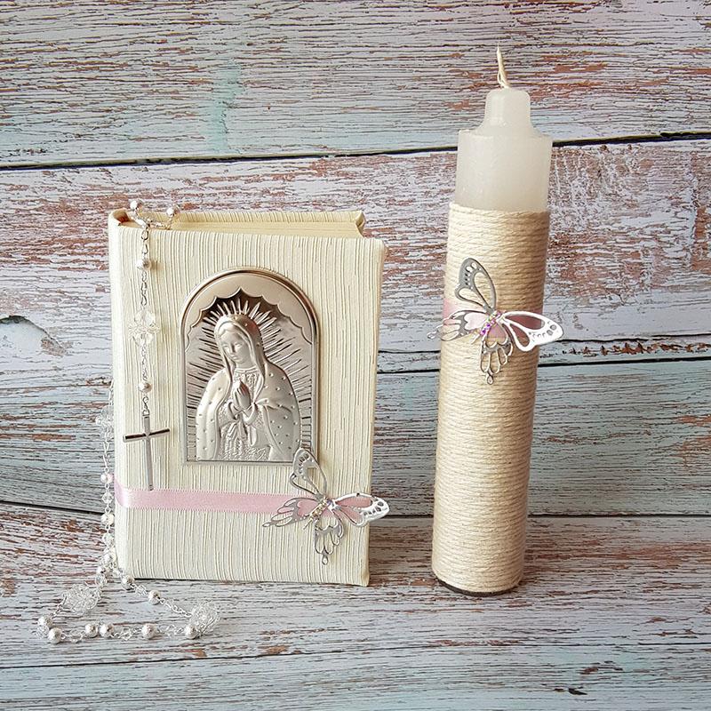 Biblia con Virgen en Plata laminada italiana, vela y rosario.