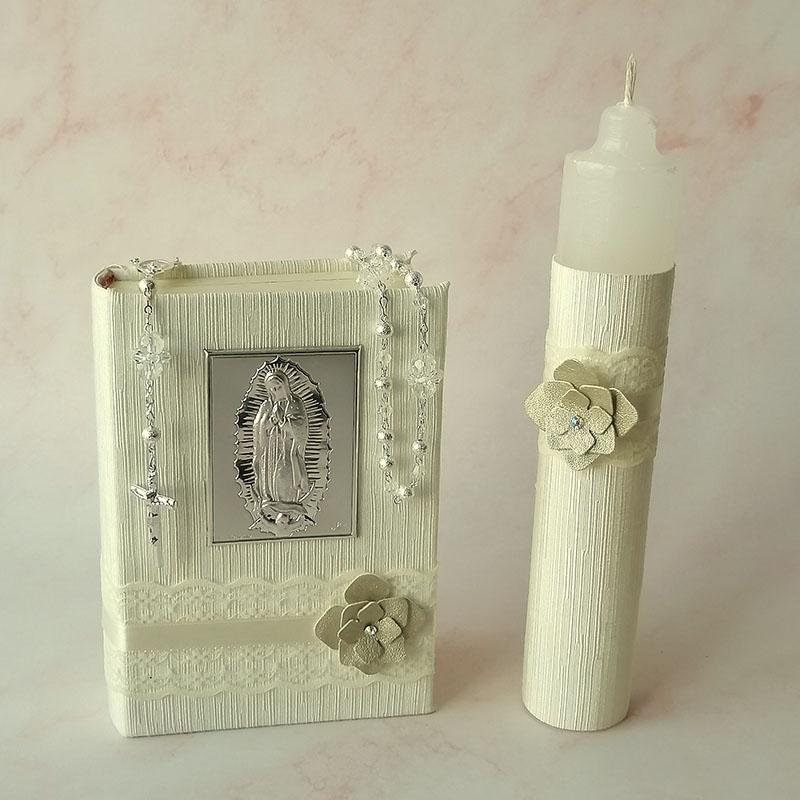 Set de Primera Comunión de Virgen en Plata Italiana