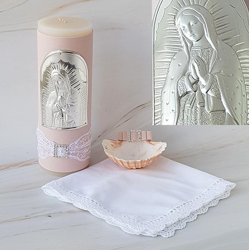 Kit de Bautizo, Virgen de Guadalupe, pink