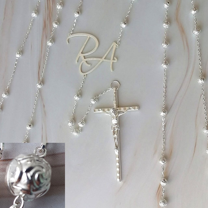 Lazo Rose Silver personalizado con iniciales