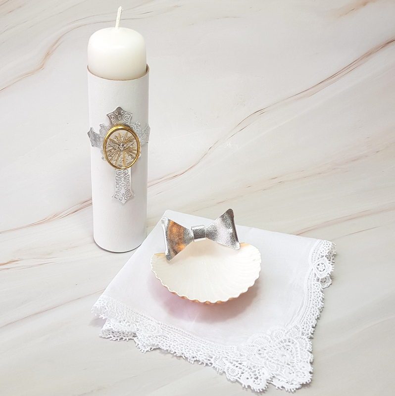Kit de bautizo, bendición italiana, placa en plata