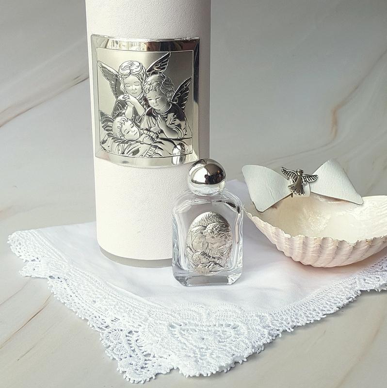 Kit de bautizo modelo Angeli con placa de plata laminada italiana